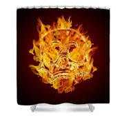 Fire Burning Flaming Skull Shower Curtain