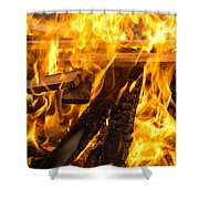 Fire - Burning Wood Shower Curtain