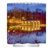 Fire Department Rescue Building On Water Shower Curtain