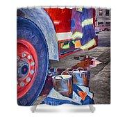 Fire Engine - Firemen - Equipment Shower Curtain