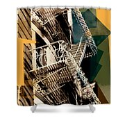 Fire Escapes In Blue And Gold Shower Curtain