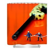 Fire Fighters And Fire Gun Little People Big Worlds Shower Curtain
