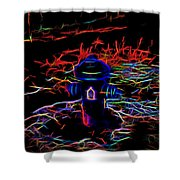 Fire Hydrant Bathed In Neon Shower Curtain