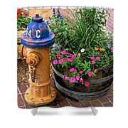 Fire Hydrant With Flowers Shower Curtain