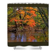 Fire In The Creek A1 - Owens Creek Near Loys Station Covered Bridge - Autumn Frederick County Md Shower Curtain