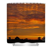 Fire In The Sky Shower Curtain by Ann Horn