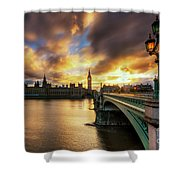 Fire In The Sky Shower Curtain by Yhun Suarez