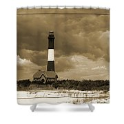 Fire Island Light In Sepia Shower Curtain
