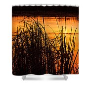 Fire On The Marsh Shower Curtain