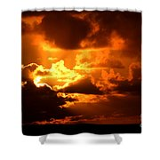 Fire Over The Ocean Shower Curtain