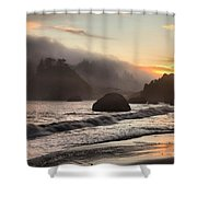 Fire Over The Sea Stacks Shower Curtain by Adam Jewell