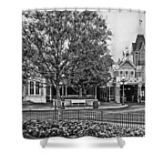 Fire Station Main Street In Black And White Walt Disney World Shower Curtain