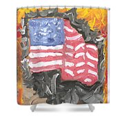 Fire Storm Flag Shower Curtain
