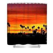Fire Sunset In Long Beach Shower Curtain
