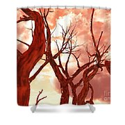 Fire Trees Shower Curtain