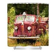 Fire Truck Digital Painted Shower Curtain