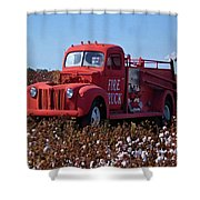 Fire Truck In The Cotton Field Shower Curtain