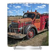Fire Truck International Harvester C. 1946 Shower Curtain