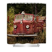 Fire Truck With Texture Shower Curtain