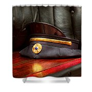 Firefighter - Hat - The Ex Chiefs Hat Shower Curtain by Mike Savad