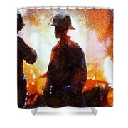 Firefighters At The Scene Shower Curtain