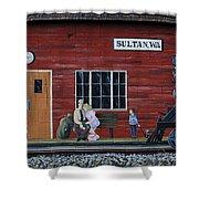 Train Station Mural Sultan Washington 3 Shower Curtain