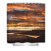 Firehole Sunset Shower Curtain