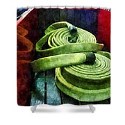 Fireman - Coiled Fire Hoses Shower Curtain
