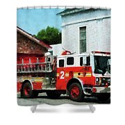 Fireman - Fire Engine In Front Of Fire Station Shower Curtain