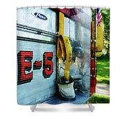 Fireman - Hose In Bucket On Fire Truck Shower Curtain