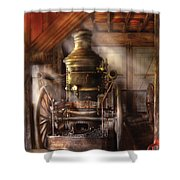 Fireman - Steam Powered Water Pump Shower Curtain by Mike Savad