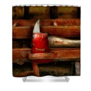 Fireman - The Fireman's Axe Shower Curtain by Mike Savad