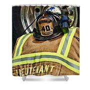 Fireman Turnout Gear Lieutenant Shower Curtain