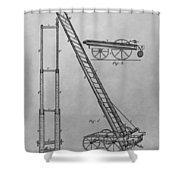 Fireman's Hydraulic Lift Patent Drawing Shower Curtain