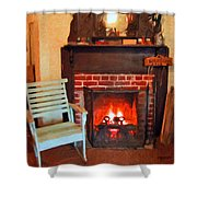 The Family Hearth - Fireplace Old Rocking Chair Shower Curtain