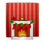 Fireplace Christmas Decoration Wth Stockings And Wallpaper Shower Curtain