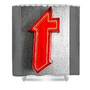 Firestone Building Red Neon T Shower Curtain