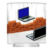 Firewall Protection For Laptops Shower Curtain