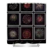 Fireworks - Black Background Shower Curtain
