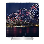 Fireworks And Full Moon Over New York City Shower Curtain
