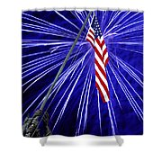 Fireworks At Iwo Jima Memorial Shower Curtain by Francesa Miller