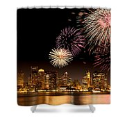 Fireworks Over Boston Harbor Shower Curtain by Susan Cole Kelly