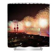 Fireworks Over Kuwait City Shower Curtain