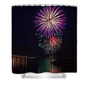 Fireworks Over The York River Shower Curtain by James Drake