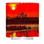 Firey Dawn Over The Marsh Shower Curtain