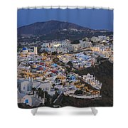 Firostefani At Night Santorini Cyclades Greece  Shower Curtain