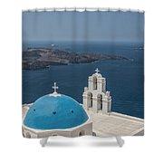 Firostefani Church On Santorini Shower Curtain