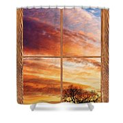 First Dawn Barn Wood Picture Window Frame View Shower Curtain