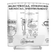 First Electric Guitar Patent Art  1937 Shower Curtain