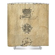 First Electric Motor 3 Patent Art 1837 Shower Curtain